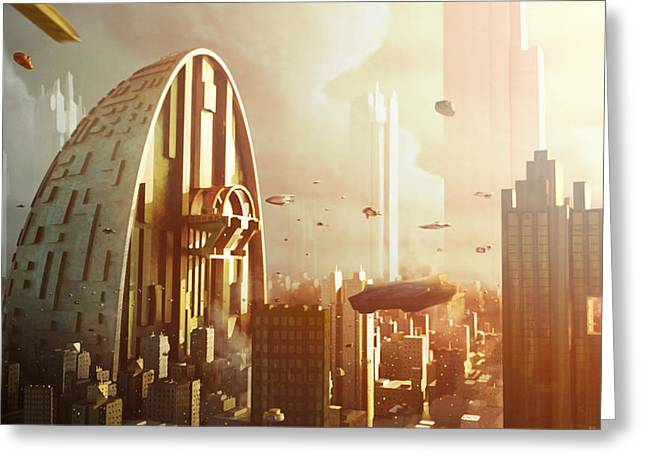 Sci-fi City Greeting Cards - Pod City Greeting Card by Jamie Fox