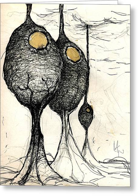 Pen Mixed Media Greeting Cards - Pods Greeting Card by Mark M  Mellon