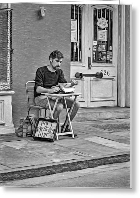 Poet For Hire 2 - Bw Greeting Card by Steve Harrington