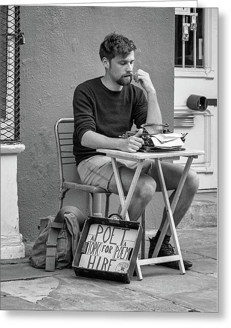 Poet For Hire Bw Greeting Card by Steve Harrington