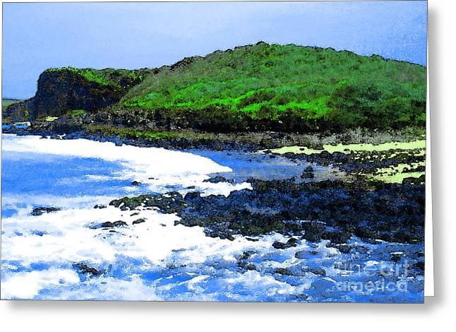 Jim Temple Greeting Cards - Pohaku Mauliuli Beach Greeting Card by James Temple