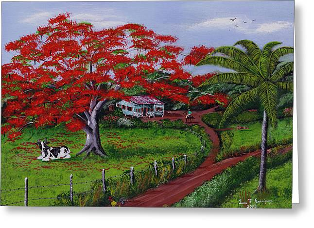 Puerto Rico Greeting Cards - Poinciana Blvd Greeting Card by Luis F Rodriguez
