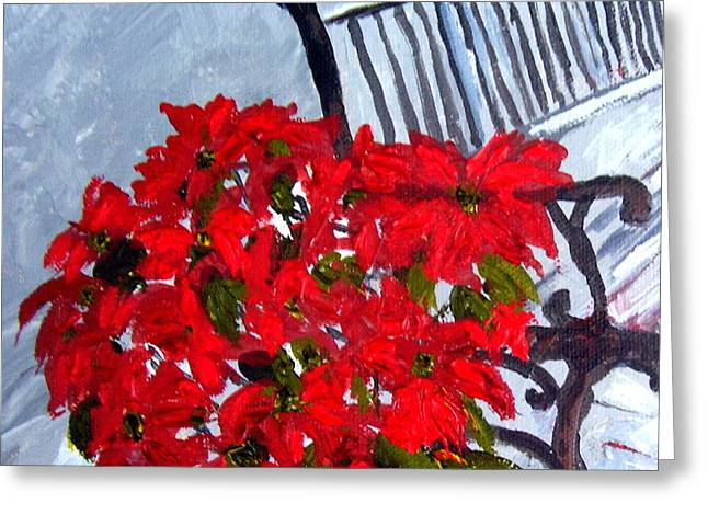 Cuban Artist Greeting Cards - Poinsettia and Bench Closeup Greeting Card by Maria Soto Robbins