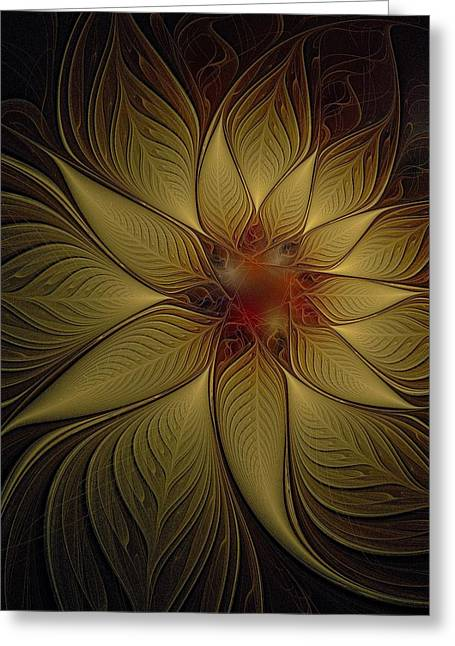 Floral Digital Art Greeting Cards - Poinsettia in Gold Greeting Card by Amanda Moore