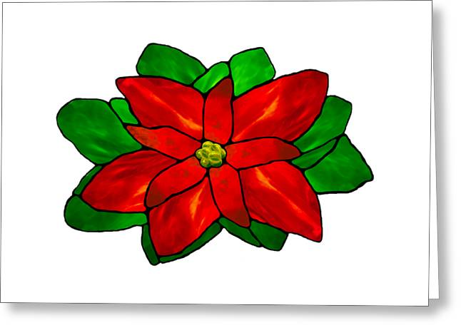 Christmas Card Glass Greeting Cards - Poinsettia Transparent Greeting Card by Wendy Rickwalt