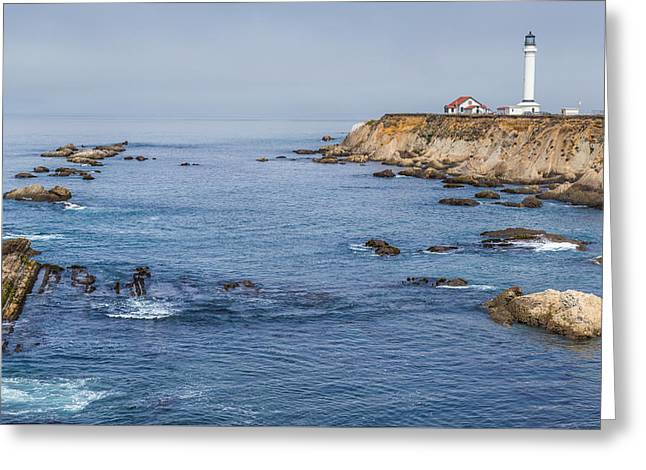California Beaches Greeting Cards - Point Arena Lighthouse and Coast Greeting Card by Marc Crumpler