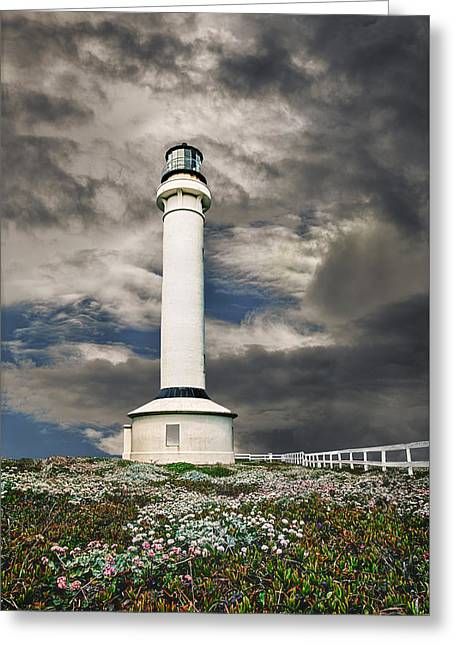 Tall Ships Greeting Cards - Point Arenas Lighthouse Greeting Card by Janet Ballard