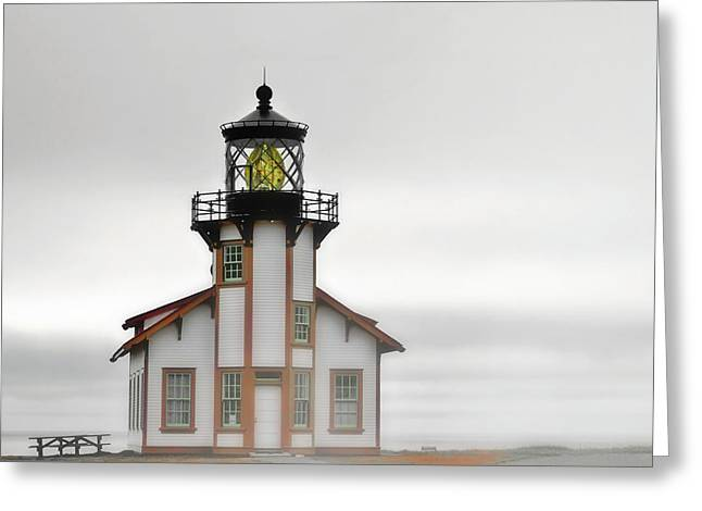 Foggy Ocean Greeting Cards - Point Cabrillo Light Station - Mendocino CA Greeting Card by Christine Till