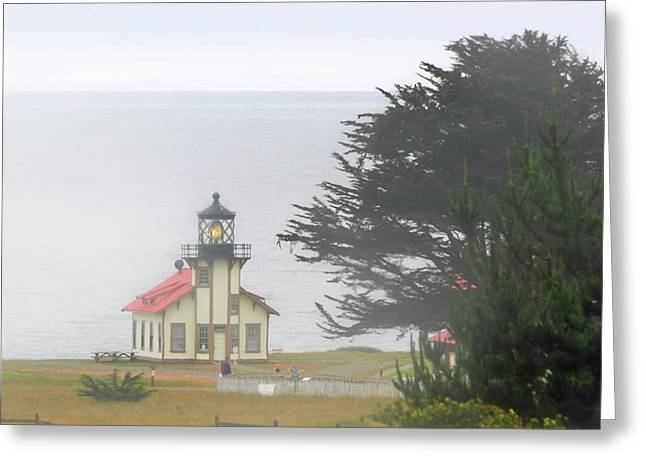 Foggy Ocean Greeting Cards - Point Cabrillo Light Station CA - Lighthouse in damp costal fog Greeting Card by Christine Till