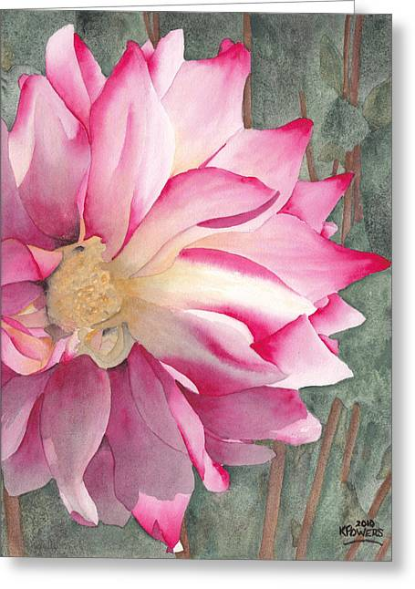 Dahlia Greeting Cards - Point Defiance Garden Flower Greeting Card by Ken Powers