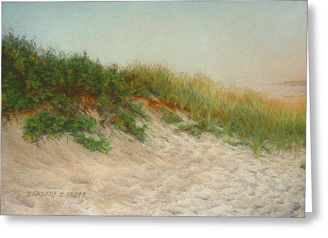 Beach Landscape Pastels Greeting Cards - Point Judith Dunes Greeting Card by Barbara Groff