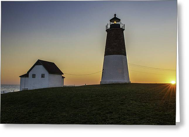 Pretty Scenes Greeting Cards - Point Judith Light at Sunset Greeting Card by Thomas Schoeller