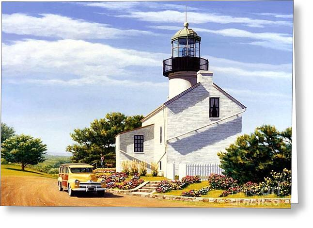 Station Wagon Paintings Greeting Cards - Point Loma Lighthouse Greeting Card by Frank Dalton