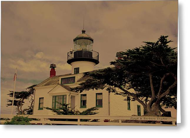 Pacific Grove Greeting Cards - Point Pinos Lighthouse Antiqued Greeting Card by Barbara Snyder