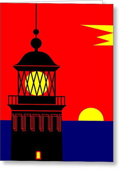 Point Queen Charlotte Light House Greeting Card by Asbjorn Lonvig