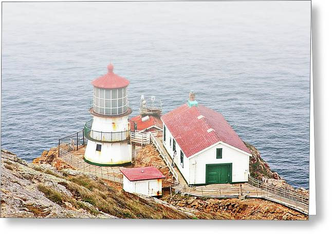 Foggy. Mist Greeting Cards - Point Reyes Lighthouse at Point Reyes National Seashore CA Greeting Card by Christine Till
