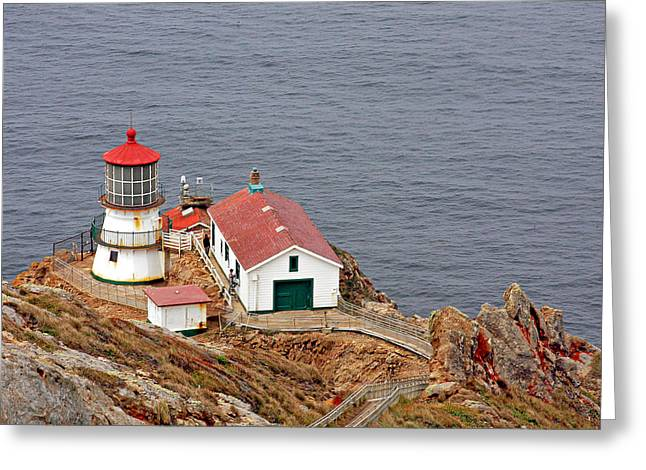 Lobe Greeting Cards - Point Reyes Lighthouse CA Greeting Card by Christine Till