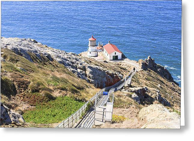 Cliffs Over Ocean Greeting Cards - Point Reyes Lighthouse NPS Greeting Card by Richard J Thompson