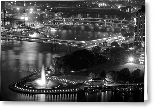 Incline Greeting Cards - Point State Park in Black and White Greeting Card by Frozen in Time Fine Art Photography