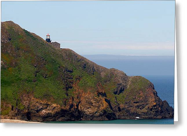 Glass Greeting Cards - Point Sur Lighthouse CA  Greeting Card by Christine Till