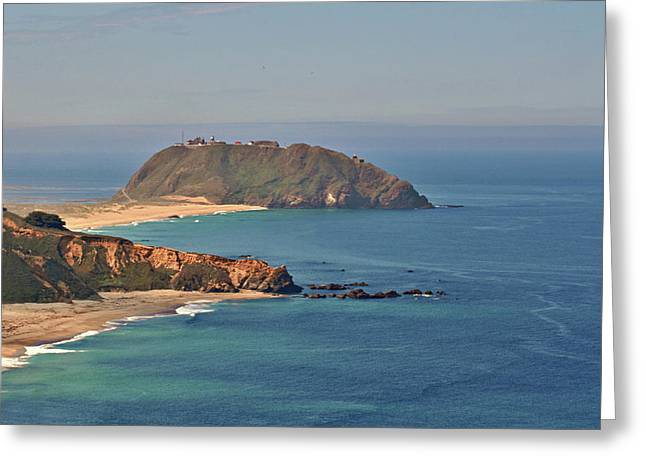 Lit Greeting Cards - Point Sur Lighthouse on Central Californias coast - Big Sur California Greeting Card by Christine Till
