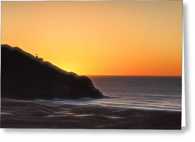Big Sur Greeting Cards - Point Sur Sunset Silhouette  Greeting Card by Doug Holck