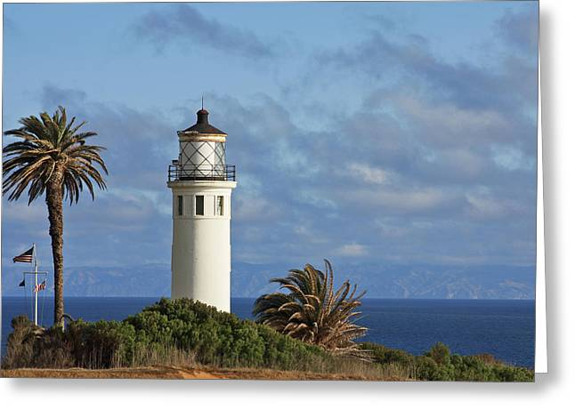 Haze Photographs Greeting Cards - Point Vicente Lighthouse on the cliffs of Palos Verdes California Greeting Card by Christine Till