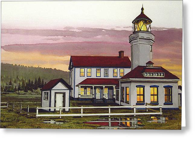 Puget Sound Framed Prints Greeting Cards - Point Wilson Light After Rain Greeting Card by James Lyman