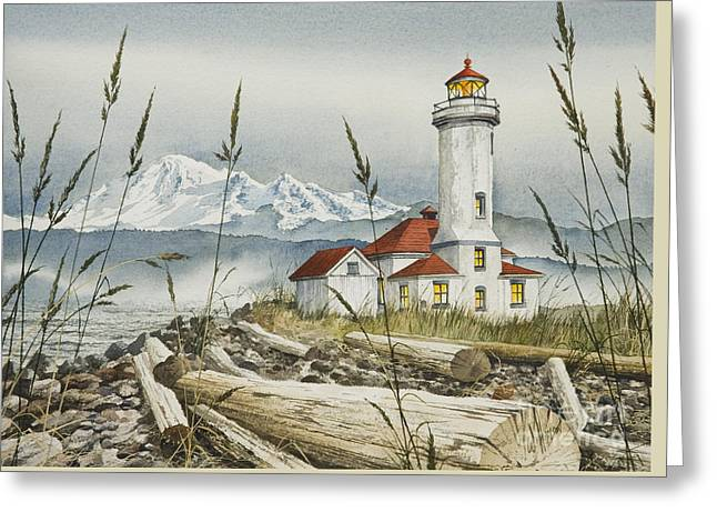 Artist James Williamson Maritime Print Greeting Cards - Point Wilson Lighthouse Greeting Card by James Williamson