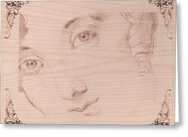 Dot Pyrography Greeting Cards - Pointalism Face of and Angel Greeting Card by Marsha Wilson