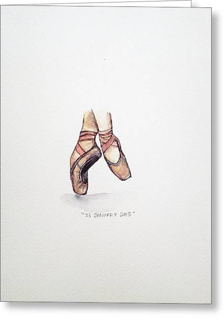 Shoes Greeting Cards - Pointe on Friday Greeting Card by Venie Tee