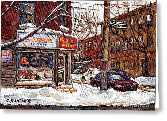 Verdun Restaurants Greeting Cards - Pointe St Charles Montreal Winter Scene Painting Paul Patates Restaurant At Coleraine And Charlevoix Greeting Card by Carole Spandau
