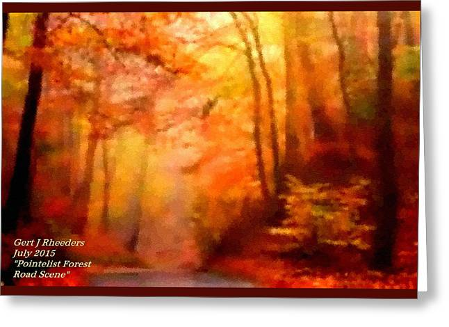 Abstract Digital Pastels Greeting Cards - Pointelist Forest Road Scene. H A Greeting Card by Gert J Rheeders