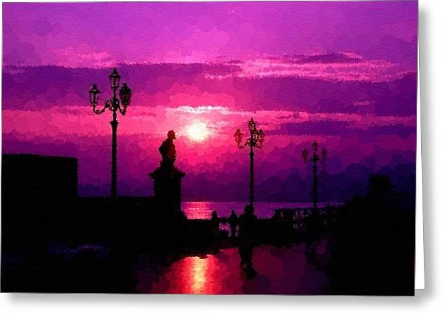 Abstract Digital Pastels Greeting Cards - Pointelist Italian Sunset H b Greeting Card by Gert J Rheeders