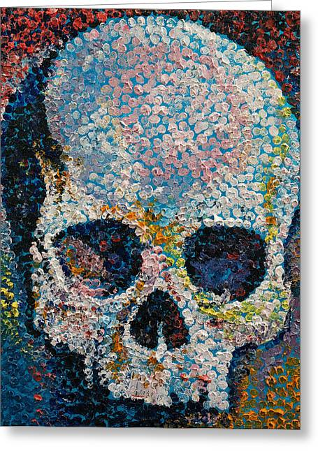 Dark Art Greeting Cards - Pointillism Skull Greeting Card by Michael Creese
