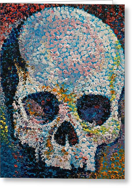 Pointillism Skull Greeting Card by Michael Creese