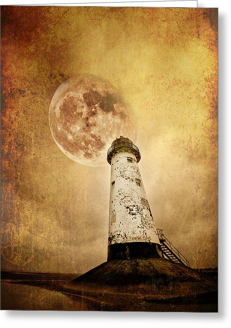 Moon Beach Greeting Cards - Pointing The Way Greeting Card by Meirion Matthias