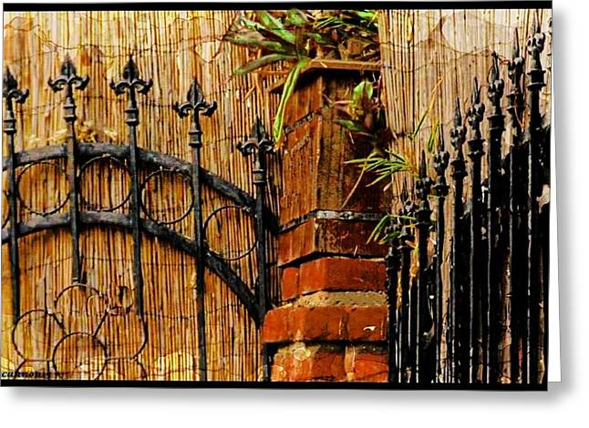 Bamboo Fence Greeting Cards - Points Well Made Greeting Card by Ellen Cannon
