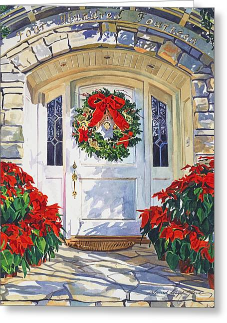 Stone Steps Greeting Cards - Pointsettia House Greeting Card by David Lloyd Glover