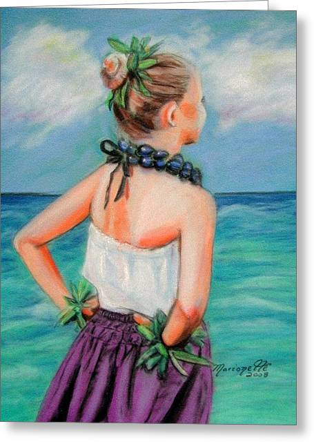Marionettes Greeting Cards - Poipu Hula Greeting Card by Marionette Taboniar