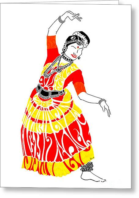 Ink Drawing Greeting Cards - Poise Greeting Card by Anushree Santhosh