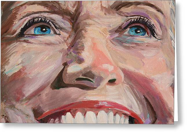 First-lady Greeting Cards - Poised for the Presidency Hillary Clinton Portrait Greeting Card by Robert Yaeger