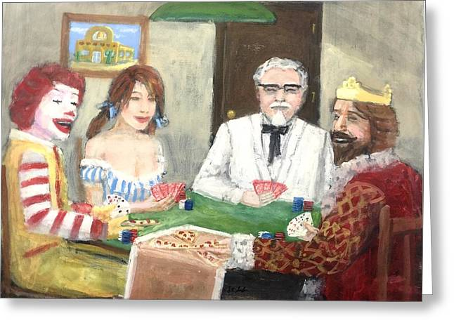 Poker With The Ad Icons Greeting Card by Larry Lamb
