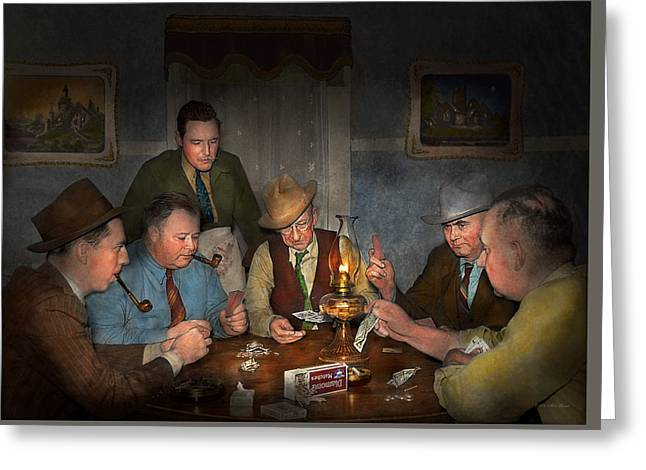 Poker - Poker Face 1939 Greeting Card by Mike Savad