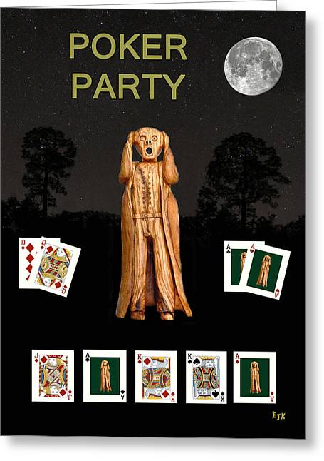 Edvard Munch Mixed Media Greeting Cards - Poker Scream Party Poker Greeting Card by Eric Kempson