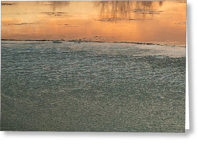 Snow Scene Landscape Greeting Cards - Poland.Frozen river at dawn.Horizontal. Greeting Card by Tomasz Kubis