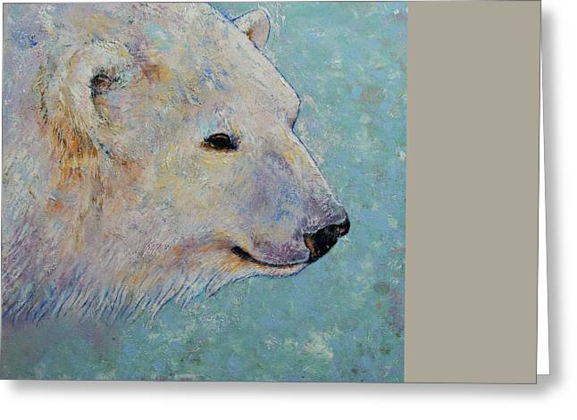 Winter Night Greeting Cards - Polar Bear Greeting Card by Michael Creese