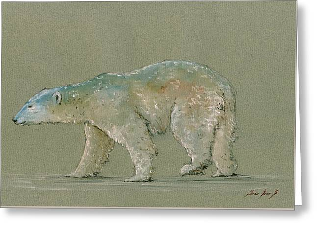 Polar Bears Greeting Cards - Polar bear original watercolor painting art Greeting Card by Juan  Bosco