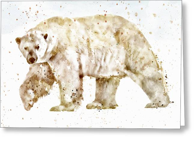 Wildlife Digital Art Greeting Cards - Polar Bear watercolor Greeting Card by Marian Voicu