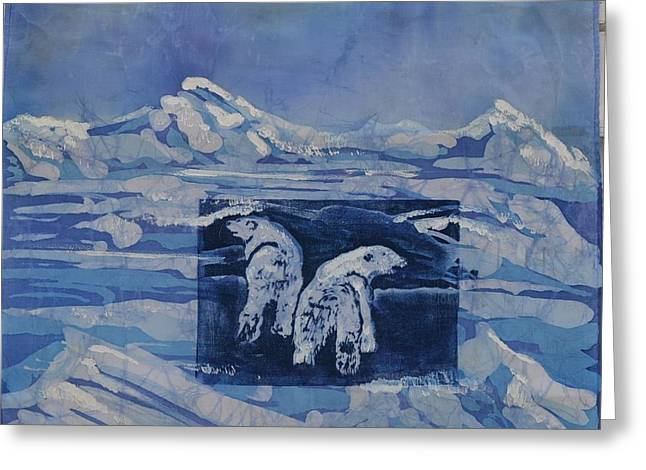Snow Scene Landscape Tapestries - Textiles Greeting Cards - Polar Hunting Greeting Card by Kate Ford